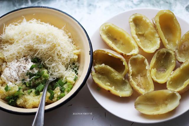 Užkeptos bulvių puselės
