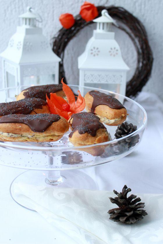 Eklerai su karamelės ir aguonų kremu