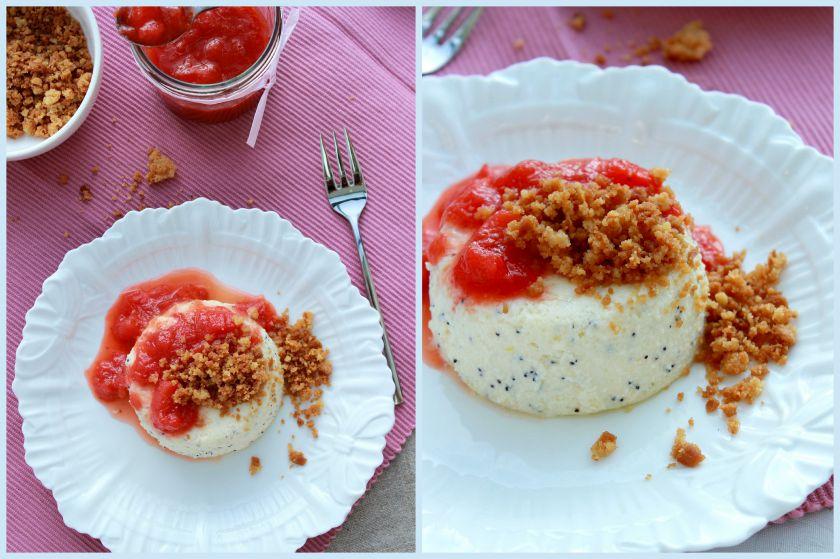 Sūrio pyragas su aguonomis ir rabarbarų  braškių uogiene
