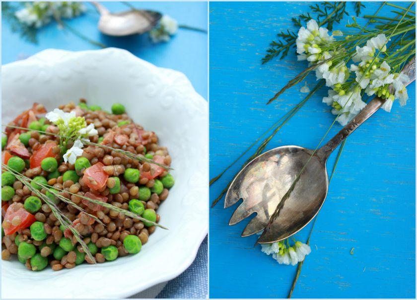 Lęšių salotos su žaliaisiais žirneliais ir šonine