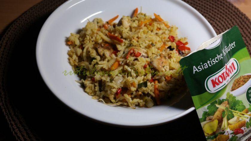 Geitai paruošiamas patiekalas iš šaldytų daržovių, vištienos ir ryžių