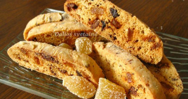 Biscotti su cukruotais imbierais ir šokoladu