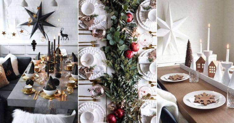 Idėjos kaip elegantiškai ir stilingai dekoruoti Kalėdų stalą (30+ foto)